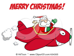 434305-Royalty-Free-RF-Clipart-Illustration-Of-Santa-Shouting-Merry-Christmas-And-Flying-A-Plane