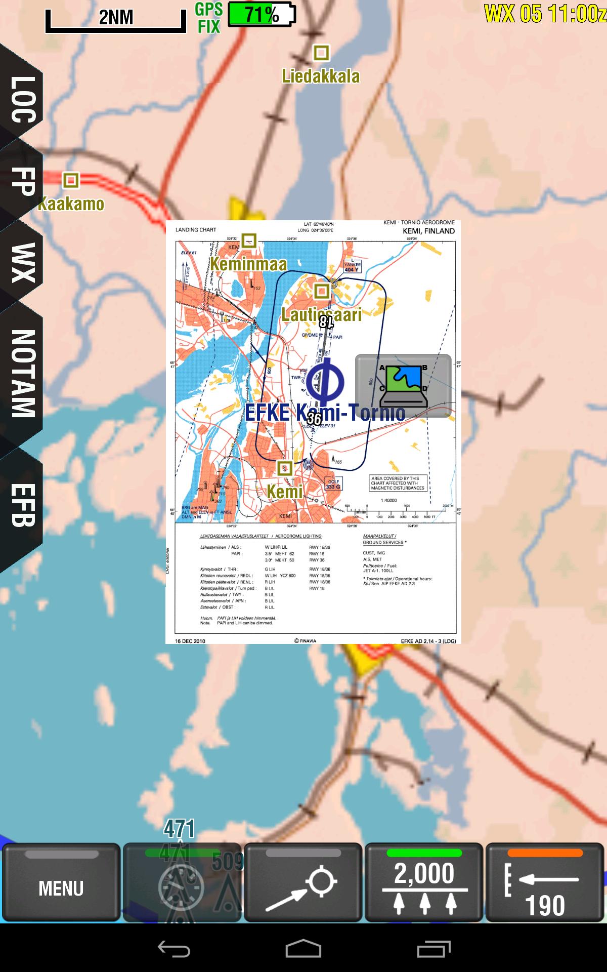 EFKE Landing chart